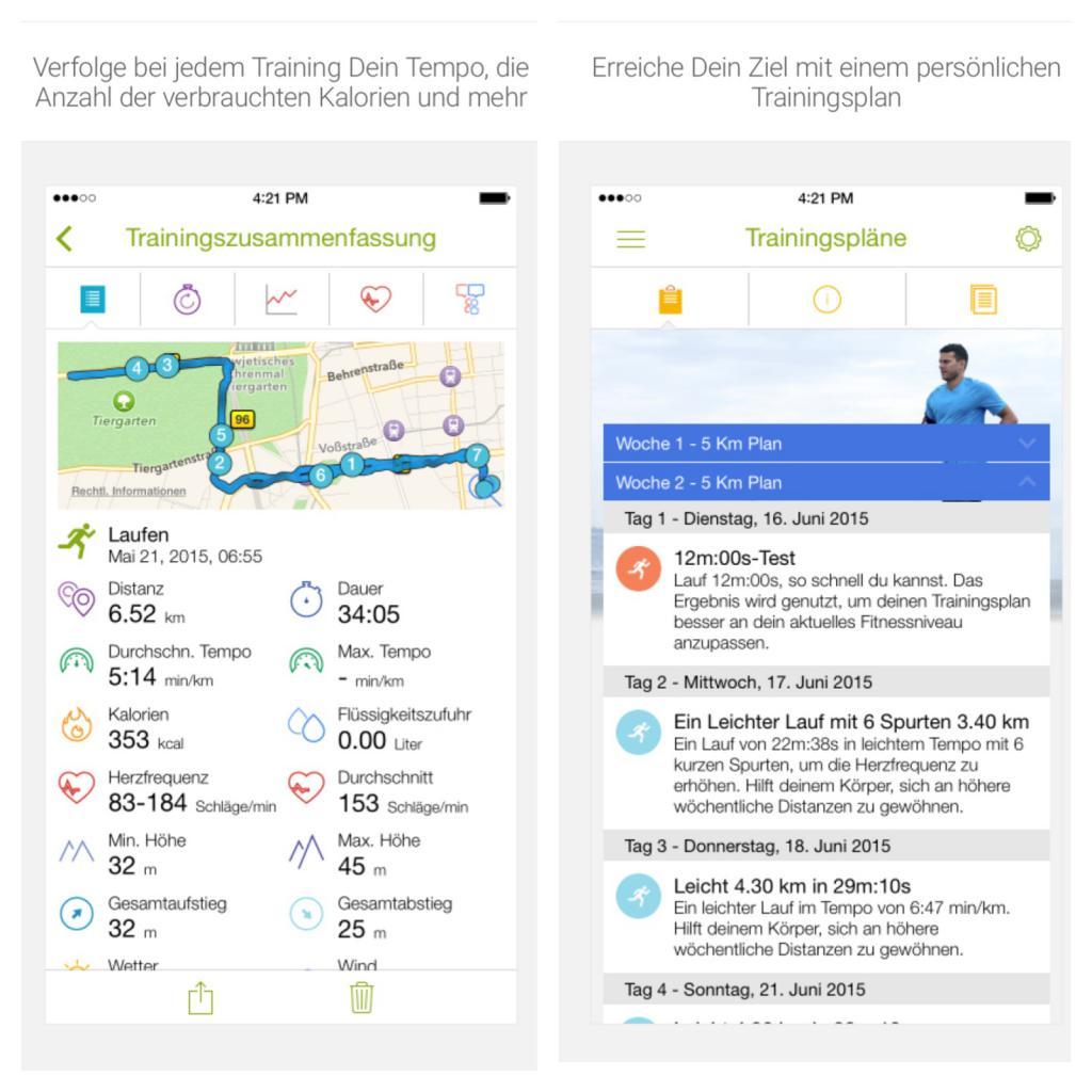 Endomondo App, alle Daten auf einen Blick